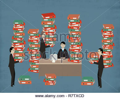 Businessmen bringing lots of data storage files to manager - Stock Photo