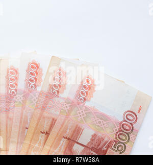 Studio image 5000 rubles. five thousand cash of the Russian Federation macro Russian currency. red note. - Stock Photo