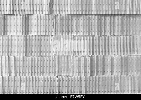 Gray background. Music background. Wall of CD cases - Stock Photo