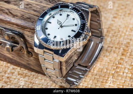 Men's Casual fashionable Wristwatch with Gift Box - Stock Photo