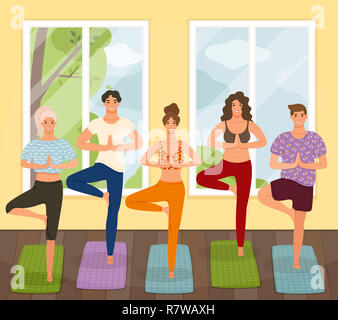 Group of young people practicing yoga lesson standing in Vrksasana exercise, Tree pose with namaste gesture, working out, indoor, studio. Healthy life - Stock Photo