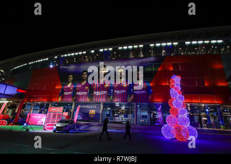 Camp Nou, Barcelona, Spain. 11th Dec, 2018. UEFA Champions League football, Barcelona versus Tottenham Hotspur; Exterior view of the Camp Nou stadium with holiday decorations Credit: Action Plus Sports/Alamy Live News - Stock Photo