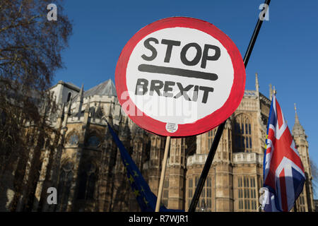 London, UK 11th December 2018: As Prime Minister Theresa May tours European capitals hoping to persuade foreign leaders to accept a new Brexit deal (following her cancellation of a Parliamentary vote), pro-EU Remainers and Brexiteers protest opposite the Houses of Parliament, on 11th December 2018, in London, England. Photo by Richard Baker / Alamy Live News - Stock Photo