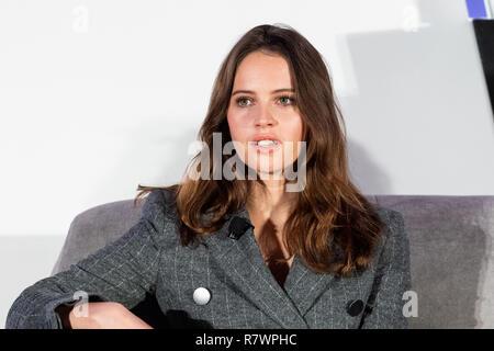 Washington, DC, USA. 11th Dec 2018. Felicity Jones, actress, at Politico's 6th Annual Women Rule Summit in Washington, DC on December 11, 2018. Credit: Michael Brochstein/Alamy Live News - Stock Photo
