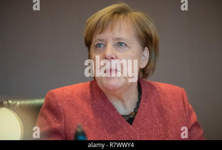 Berlin, Germany. 12th Dec, 2018. Chancellor Angela Merkel (CDU) at the beginning of the Federal Cabinet meeting at the Chancellor's Office. Credit: Michael Kappeler/dpa/Alamy Live News - Stock Photo