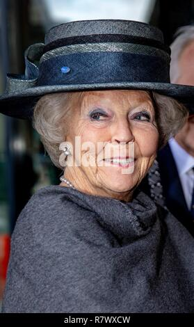 Hilversum, Netherlands. 12th Dec, 2018. Princess Beatrix of The Netherlands arrives at the Nederlands Instituut voor Beeld en Geluid in Hilversum, on December 12, 2018, to reveal the new name of Sensoor, the national listening line, a nationwide network of anonymous remote assistance Credit: Albert Nieboer/ Netherlands OUT/Point de Vue OUT |/dpa/Alamy Live News - Stock Photo