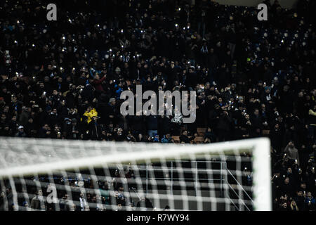 Milan, Italy. 11th Dec 2018. Fans on the bleachers during the UEFA Champions League football match, Inter Milan vs PSV Eindhoven at San Siro Meazza Stadium in Milan, Italy on 11 December 2018 Credit: Piero Cruciatti/Alamy Live News - Stock Photo