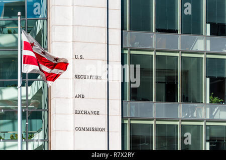Washington DC, USA - October 12, 2018: US United States Securities and Exchange Commission SEC architecture modern building sign, logo, flag, glass wi - Stock Photo