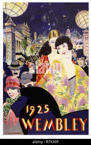 British Empire Exhibition Wembley 1925 - Vintage Travel Poster - Stock Photo