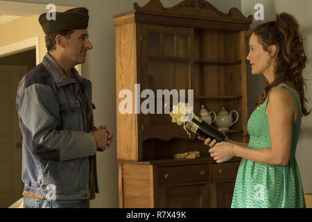 Steve Carell as Mark Hogancamp and Leslie Mann as Mark's new neighbor, Nicol, in 'Welcome to Marwen,' directed by Robert Zemeckis.  Photo Credit: Universal Pictures and Storyteller Distribution Co., LLC. / The Hollywood Archive - Stock Photo