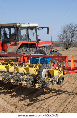 Sowing of beet by tractor and seeding machine. - Stock Photo