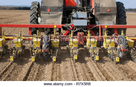 Sowing of beet by seeding machine. Rear view on machine. - Stock Photo