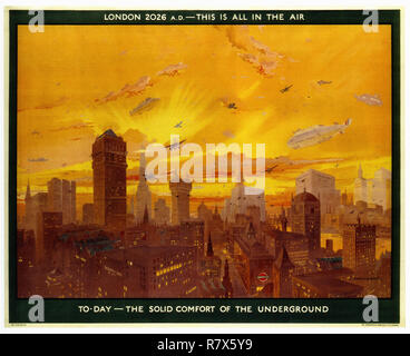 London 2026 Underground - Vintage Travel Poster - Stock Photo