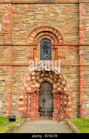 Side entrance door to south transept of 12th century St Magnus' cathedral. Kirkwall, Orkney Mainland, Scotland, UK, Great Britain - Stock Photo