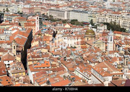 France, Alpes Maritimes, Nice, Old Nice district, Sainte Réparate Cathedral on the right and Tour de l'Horloge on the left - Stock Photo