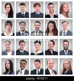 collage of portraits of successful young businessmen - Stock Photo
