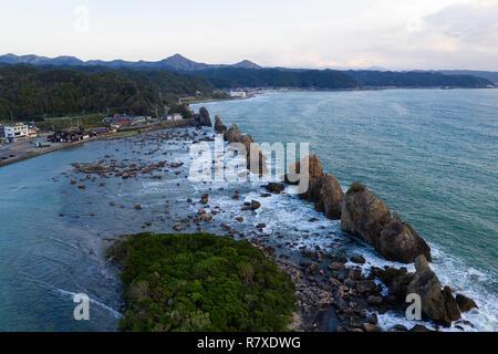Coastline at Hashi-gui-iwa rocks, Kushimoto, Wakayama Prefecture, Japan. - Stock Photo
