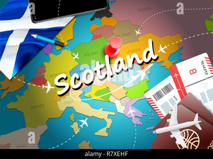 Scotland travel concept map background with planes,tickets. Visit Scotland travel and tourism destination concept. Scotland flag on map. Planes and fl - Stock Photo