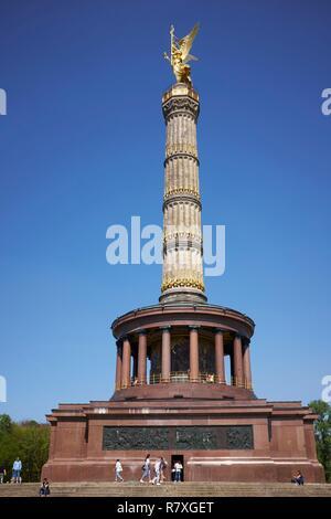 Germany, Berlin, Tiergarten district, Victory Column (Siegessaule) - Stock Photo