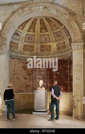 Germany, Berlin, Museum Island, listed as World Heritage by UNESCO, Neues Museum, museum designed by Friedrich August Stuler and inaugurated in 1855 but reopened in 2009 after the renovation directed by British architect David Chipperfield, Bust of Akhenaten - Stock Photo