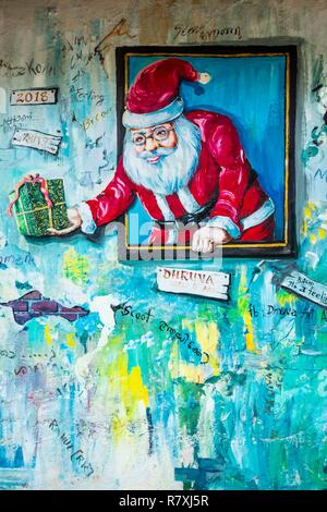 Inde, state of Kerala, Kochi (or Cochin), Fort Kochi (ou Fort Cochin) district, mural - Stock Photo