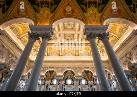 United States, District of Columbia, Washington, Library of Congress, Thomas Jefferson Building, interior - Stock Photo