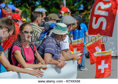People having fun at the World Orienteering Championships in Lausanne, Switzerland - Stock Photo