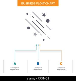 star, shooting star, falling, space, stars Business Flow Chart Design with 3 Steps. Glyph Icon For Presentation Background Template Place for text. - Stock Photo
