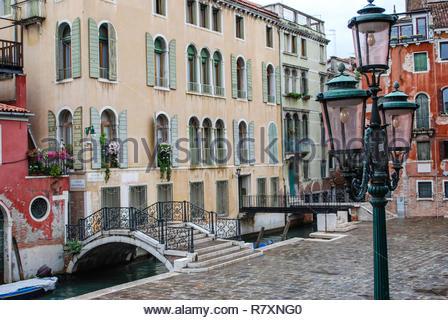 Lamp Post, Bridge and Buildings, Venice, Italy - Stock Photo