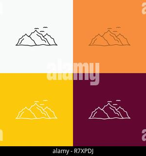 mountain, landscape, hill, nature, birds Icon Over Various Background. Line style design, designed for web and app. Eps 10 vector illustration - Stock Photo
