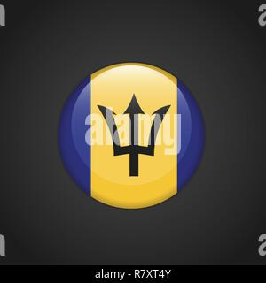 Barbados Flag Circle Button - Stock Photo