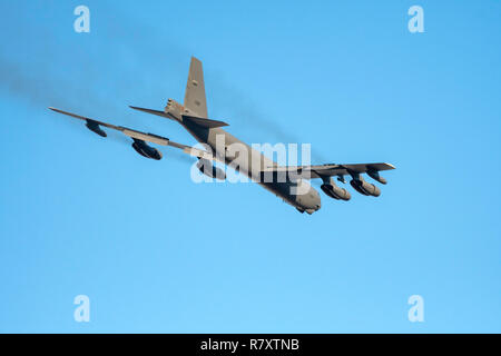 BOSSIER CITY, LOUISIANA, U.S.A.-Dec. 4, 2018: A U.S. Air Force B-52 bomber prepares to land at Barksdale Air Force Base. - Stock Photo