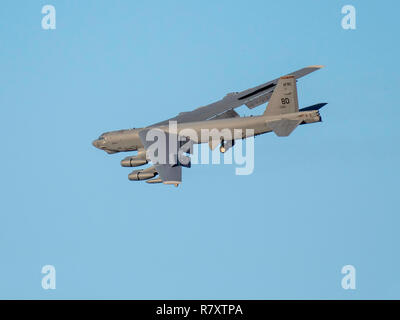 BOSSIER CITY, LOUISIANA, U.S.A.-Nov. 27, 2018: A U.S. Air Force B-52 bomber prepares to land at Barksdale Air Force Base. - Stock Photo