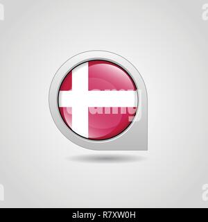 Denmark Flag Map Pin - Stock Photo