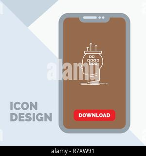 Algorithm, brain, conclusion, process, thinking Line Icon in Mobile for Download Page - Stock Photo