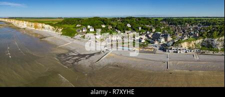 France, Seine Maritime, Veules les Roses, The Most Beautiful Villages of France (aerial view) - Stock Photo