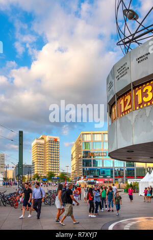 Berlin, Berlin state / Germany - 2018/07/24: Historic Urania World Clock construction - Weltzeituhr, at the Alexanderplatz square in the Mitte quarter - Stock Photo
