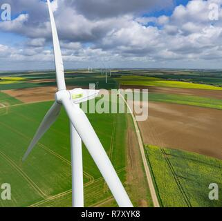 France, Eure et Loir, Fresnay l'Eveque, Ablis Road Wind Farm, 26 turbines MM92 along the A10 motorway (aerial view) - Stock Photo
