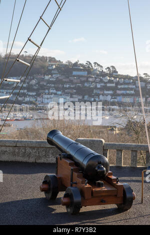 Canon on quarter deck of Britannia Royal Naval College looking out over Dartmouth and River Dart - Stock Photo
