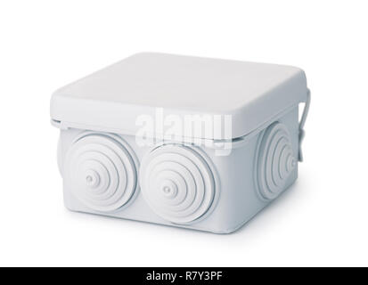 Plastic electrical junction box isolated on white - Stock Photo