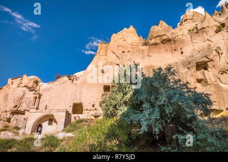 Turkey, Central Anatolia, Nevşehir province, Cappadocia UNESCO World Heritage Site, Avanos, open-air museum of Zelve, troglodyte city which was the main religious center of the 9th-13th century in Cappadocia, Göreme National Park - Stock Photo