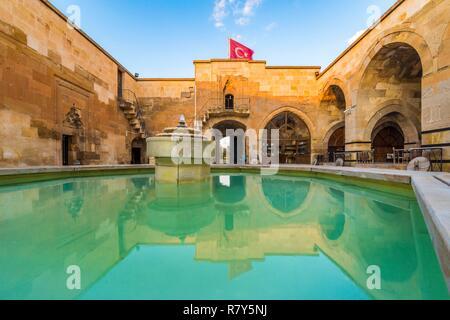 Turkey, Central Anatolia, Nevşehir province, Cappadocia UNESCO World Heritage Site, Avanos, fountain of the inner courtyard of the Seljuk caravanserai Sarihan, built in 1249, on the Silk Road - Stock Photo