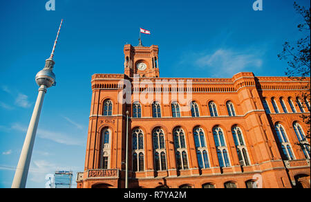 Berlin, Germany -May 31, 2017:Panoramic front view of the red town city hall in Berlin and tv tower - Stock Photo