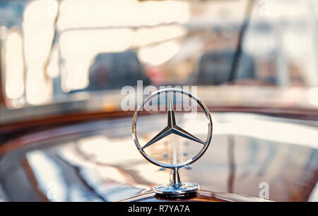 Berlin, Germany - may 31, 2017: Mercedes Benz Sign or logo Close Up. Founded in 1926 is a German luxury automobile manufacturer, a multinational division of the German manufacturer Daimler AG - Stock Photo