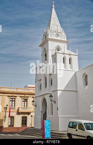 Los Silos the beautiful little town between the Atlantic coast and the Teno mountains - the church Nuestra Señora de la Luz. - Stock Photo