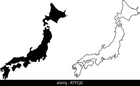 Simple (only sharp corners) map of Japan vector drawing. Filled and outlined version. - Stock Photo
