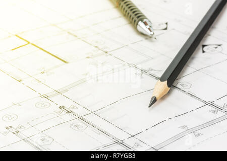 A photo of pencil on blueprint - Stock Photo