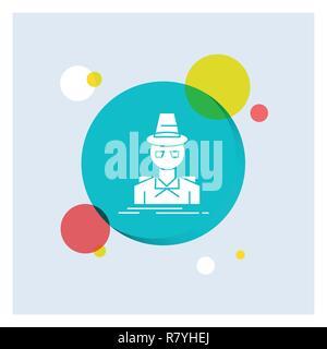 Detective, hacker, incognito, spy, thief White Glyph Icon colorful Circle Background - Stock Photo