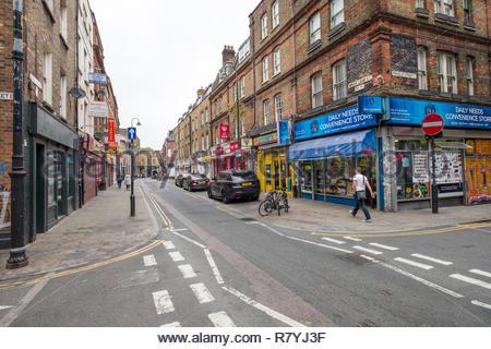 Shops along Brick Lane, Tower Hamlets, London, England, United Kingdom - Stock Photo