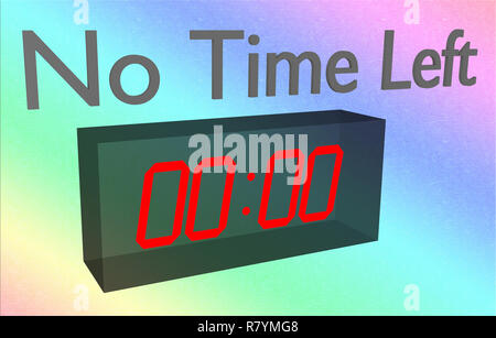 No Time Left sign concept 3D illustration with digital clock on colored gradient background - Stock Photo